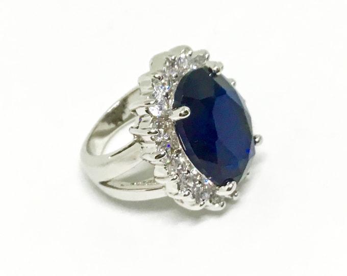 Princess Diana Ring, Nolan Miller Ring, Reproduction Royal Wedding Ring, Clear & Blue CZs, Statement Ring