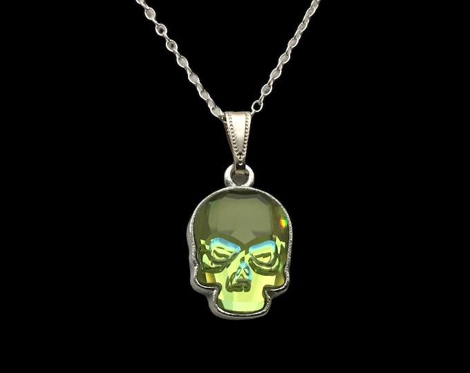 Handmade Ultra Green AB Swarovski Crystal Skull Pendant, Gothic Jewelry
