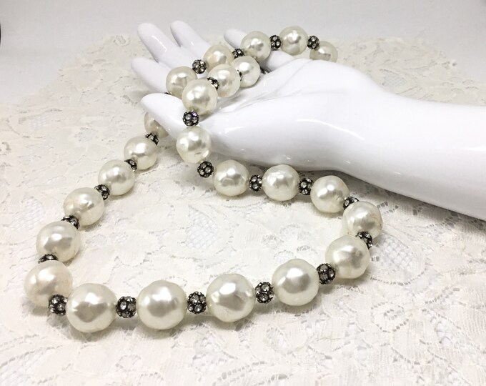Faux Baroque Pearl Necklace/1950s/Upcycled Closure/Creamy Faux Baroque Pearls /One Long Strand/Rhinestone Ball Beads/Unsigned/Restrung