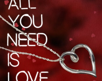 """Handmade Sterling Silver Open Heart Necklace, 18"""" Sterling Silver Chain, Valentine Gift"""