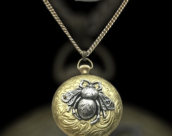 """Handmade Vintage Locket/Pendant with Bumblebee  Accent, Vintage 24"""" Chain"""
