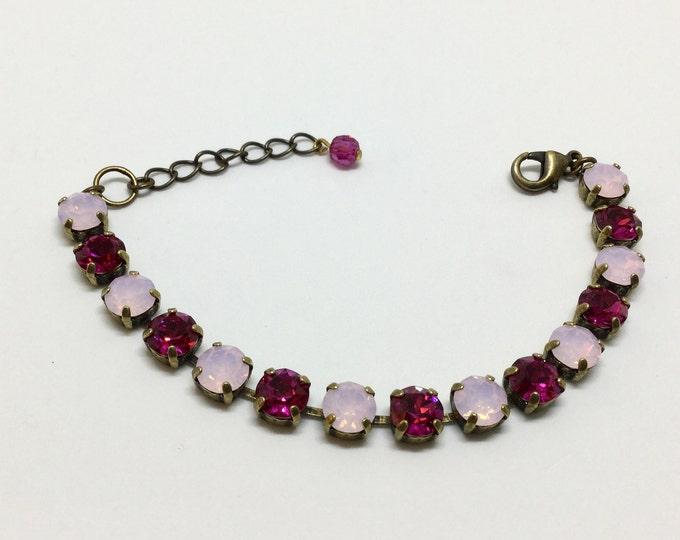 Swarovski Crystal Bracelet, Alternating Rosewater Opal & Fuchsia Crystals , Handcrafted Bracelet, Rhinestone Bracelet, Sparkling  Crystals