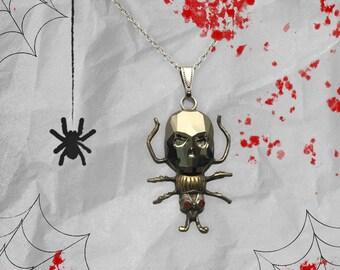 Handmade USA Bug Pendant with Swarovski Crystal Skull, Goth, Skull Lovers