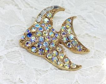 AB Fish Brooch/Aurora  Borealis Rhinestones/Goldtone/Sparkly/ Vintage Fish Brooch/ Pin