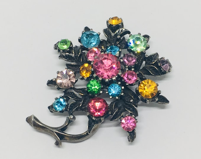 Vintage Multicolor Rhinestone Flower Brooch, Antiqued Brass Setting, Openwork Flower and Leaf Design, Rhinestone Jewelry