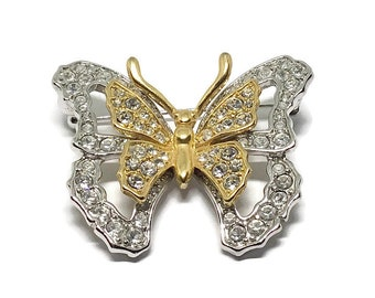 Vintage Nolan Miller Butterfly Brooch, Two Tone, Clear Rhinestones, Designer Brooch