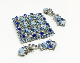 Vintage Juliana D & E Rhinestone Brooch Pendant, Brooch/Pendant/Earrings Set, Square Rhinestones, Shades of Blue, Juliana Collectors