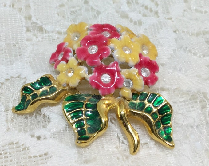 Vintage Joan Rivers Signed Enamel & Crystal Flower Brooch Pin