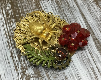 Handcrafted Spider Brooch/Vintage Earring/Rhinestone/Fern/Brass Spider/Unique Brooch/Artisan Created/Handmade Jewelry/Brass Brooch