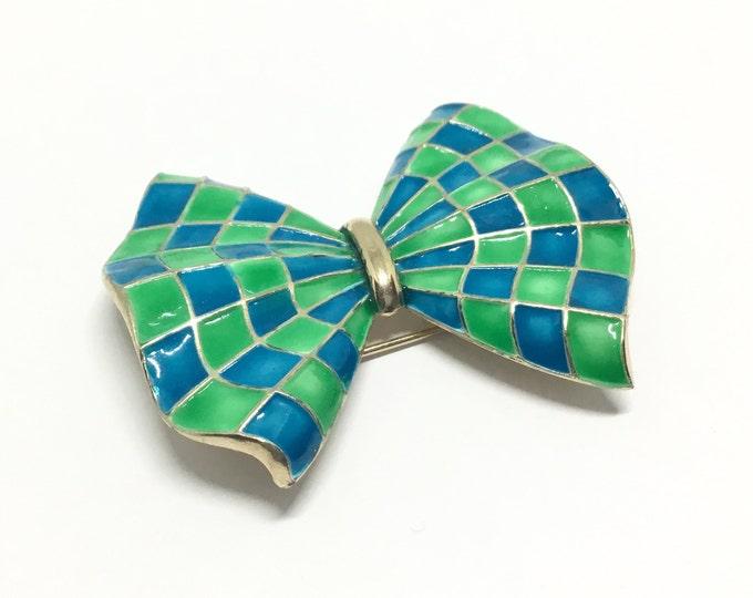 Vintage MARVELLA Bow Brooch,  Blue and Green Enamel Checks,  Bow Brooch