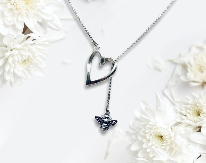Handmade Sterling Silver Lariat Necklace with Heart and Bee, Sweet and Dainty, Boho