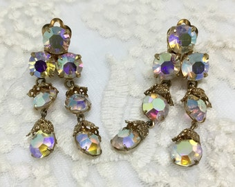 Vintage Rainbow Aurora Borealis Rhinestone Dangle Clip Earrings