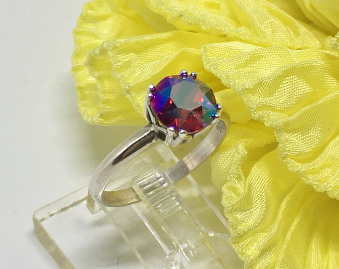 Handcrafted Sterling Silver Ring Made with a Swarovski Crystal Size 9