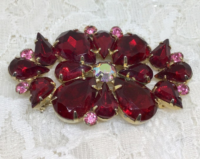 Vintage Rich Red Rhinestone Flower Brooch Pin