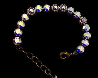 "Handmade Swarovski Crystal Bracelet, Aurora Borealis Color, Crystal Flowers, 6 3/4"" Length, Super Sparkly"