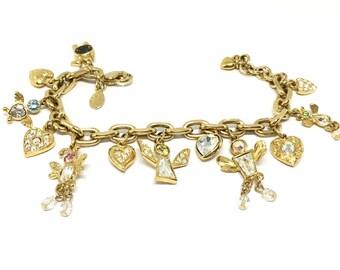 Kirks Folly Bracelet/Angel and Hearts/Goldtone/Multicolor Crystals Beads/Whimsical/Unique/Signed Hangtag/Charm Bracelet/Designer Bracelet