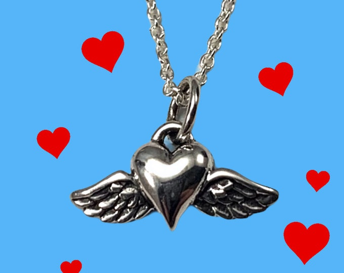 """Sterling Silver Heart with Wings Charm Pendant, 18"""" Sterling Silver Chain, Valentines Day Gift"""