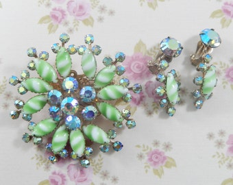 Vintage AB Rhinestone and Green Stripe Milk Glass Floral Brooch Earring Set