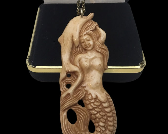 Carved Bone Mermaid with Dolphin Necklace, Mermaid Jewelry, 18 Inch Cord