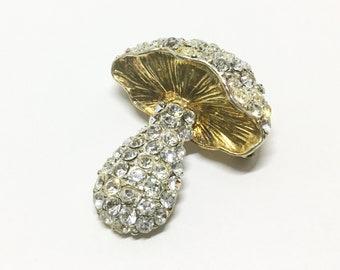 Vintage Rhinestone Mushroom Brooch, Sparkly Clear Rhinestones, Costume Jewelry, Rhinestone Jewelry, Mothers Day Gift