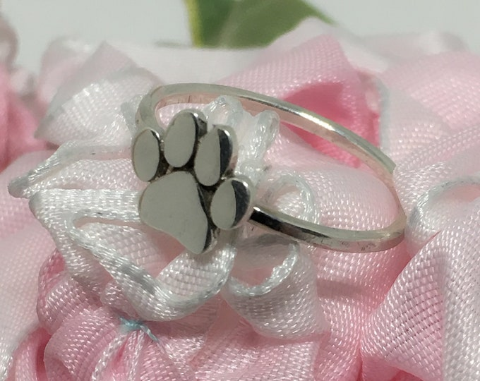 Handmade Dog Paw Ring, 925 Sterling, Hammered Sterling Band, Thin Band, Made USA