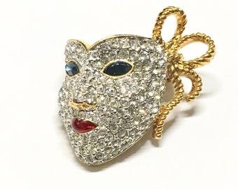 Vintage Swarovski La Scala Theater Mask Brooch, Swarovski Crystals, Super Sparkly, Swan Logo, 1980s