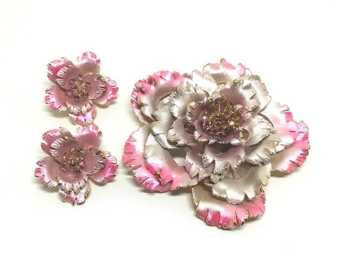 Vintage PARK LANE Flower Set, Pink Flower Brooch Earring Set, Enamel and Rhinestones, Iridescent Pink Enamel