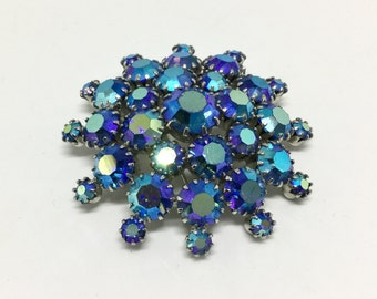 Vintage Blue Purple AB Rhinestone Dome Brooch Pin