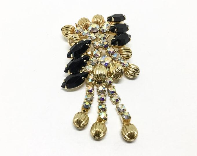 Vintage Rhinestone and Goldtone Metal Bead Dangle Brooch, AB and Black Rhinestones, Three AB Dangles, Rhinestone Jewelry