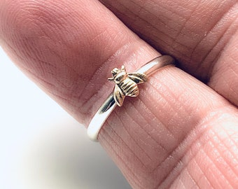 14/20 GF Bee, 925 Sterling Silver Band, Handmade in USA, Bee Ring