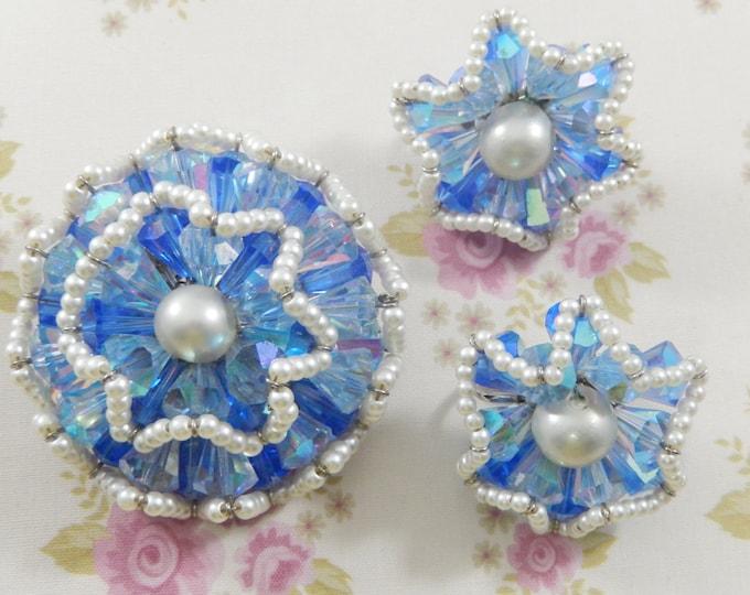 Vintage Vendome Signed Blue Crystal Seed Pearl Ruffle Flower Brooch Earring Set