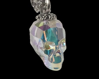 Swarovski AB Crystal Skull Pendant and Chain, 3D Skull, Goth Jewelry