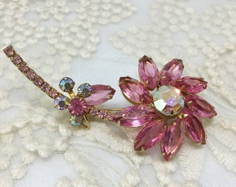 Vintage D & E Juliana AB Pink Rhinestone Flower Long Stem Brooch Pin