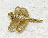 Dragonfly Brooch Vintage Brooch Pin 1980s Signed Monet Costume Jewelry Harp Wings Clear Rhinestones High Gloss Goldtone Monet Jewelry