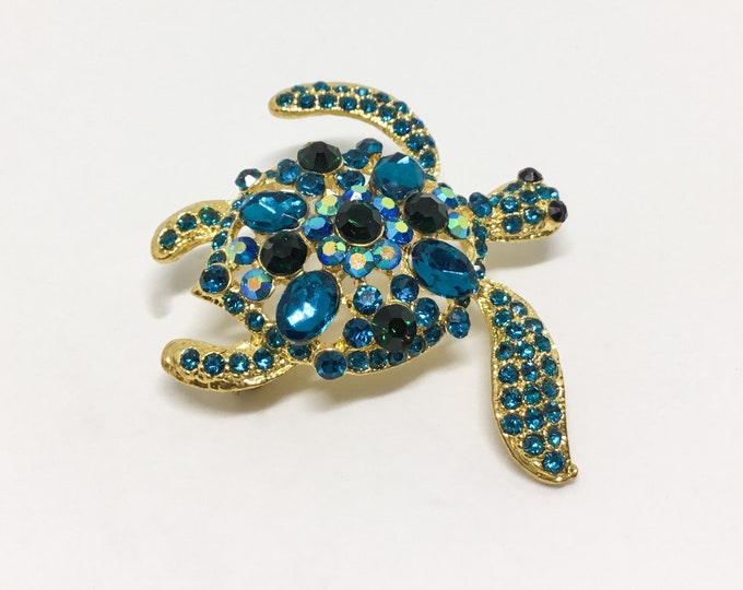 Rhinestone Turtle Wedding Brooch, Craft Supply, Wedding Brooch, For Crafting, Bridal Bouquet, Beach Wedding, Accent