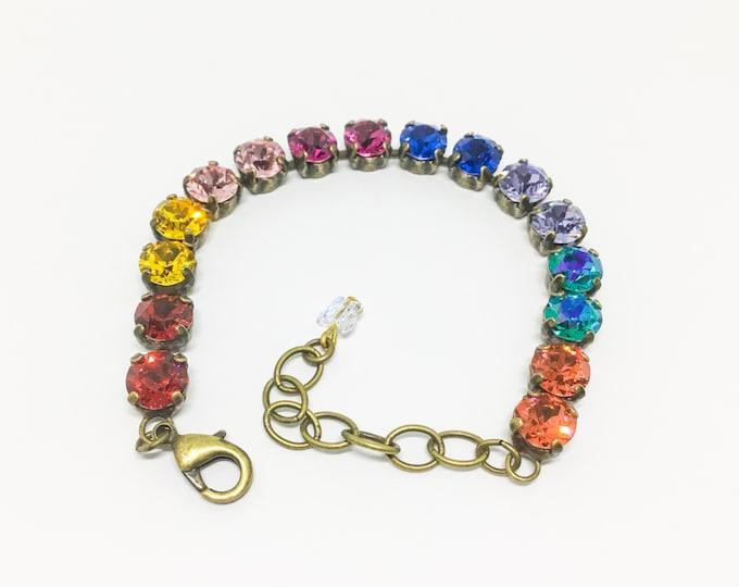 Swarovski Crystal Bracelet, Sparkly Bracelet, Handcrafted Bracelet, Multicolor Crystals