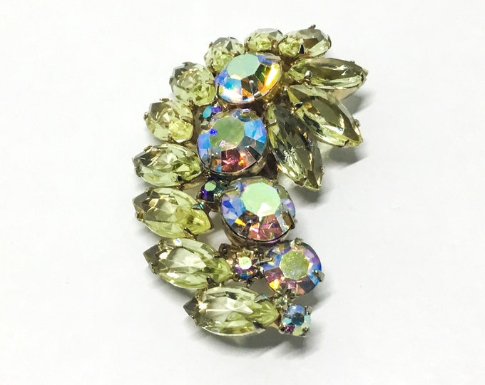 Vintage Yellow Rhinestone Brooch, Swirl Leaf Design, Rhinestone Jewelry
