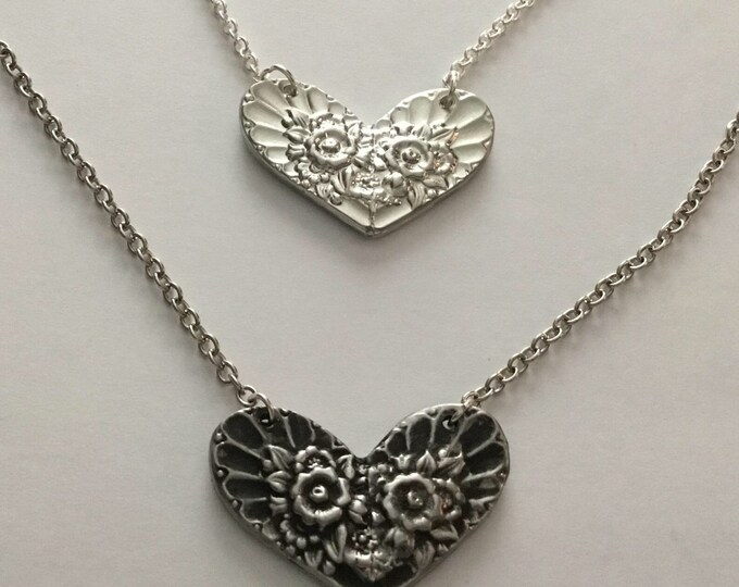 Cast Pewter Spoon Heart with Sterling Silver Chain