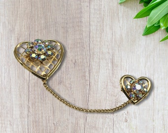 Vintage Double Hearts Pin, Hearts Joined by Chain, Sweet and Dainty
