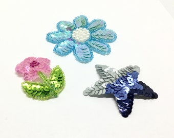 Sequin and Bead Appliqués, Flowers and Star, Sew On or Glue, Creative Embellishment