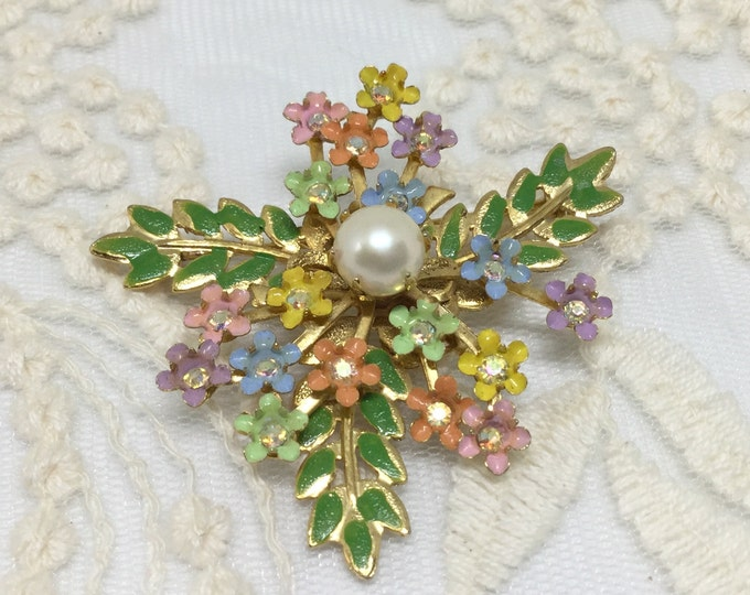 Sweet Vintage Enamel Rhinestone Dainty Flower Leaves Brooch Pin