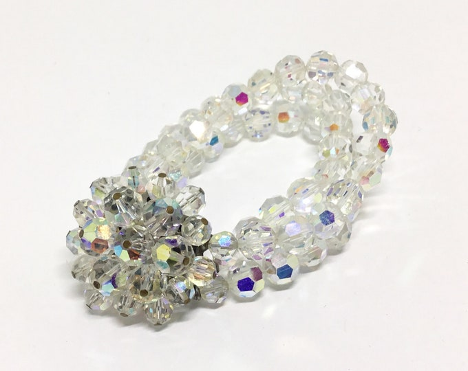 Vintage AB Glass Bead Cluster Flower Three Strand Bracelet, Faceted AB Clear Glass Beads,  Bridal Bracelet, Unique and Fabulous Bracelet