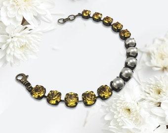 Handmade Bracelet with Swarovski Crystals, Sunshine Yellow and Swarovski Pearls, Super Sparkly,  Handset Crystals
