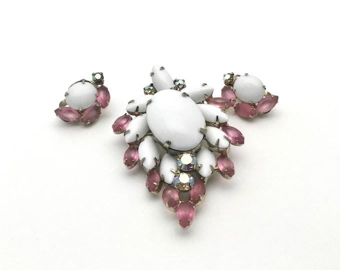 Vintage Milk Glass and Pink Satin Rhinestone Brooch Set, D & E Juliana, Matching Earring