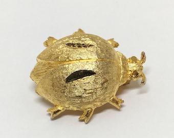 Vintage Mamselle Signed Goldtone Bug Pin, Brushed Goldtone, Cute Bug, Bug Jewelry