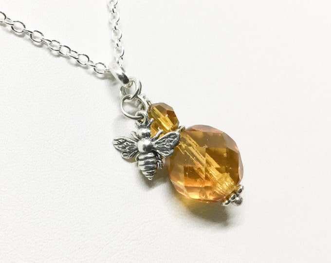 Honey Bee and Honey Colored Beads Necklace, Handcrafted with Sterling Silver Bee Bale Headpin, Bee and Honey Jewelry, Bee Lovers