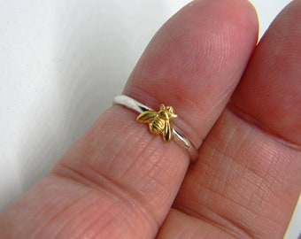 Handmade USA Tiny Bee Ring, Sterling Band, 24kt Goldplated Brass Bee, Solid Sterling 925 Band