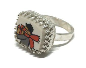 Broken China Holiday Ring, Sterling Silver, Handcrafted