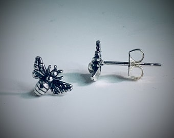 Tiny Stud Bee Earrings Sterling Silver