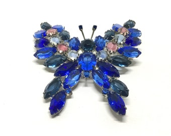 Vintage Kenneth Jay Lane Rhinestone Butterfly Brooch, KJL Jewelry, Designer Butterfly Brooch